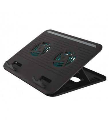 pSoporte de ordenador portatil con dos ventiladores silenciosos integrados que le permite adoptar una posicion comoda mientras