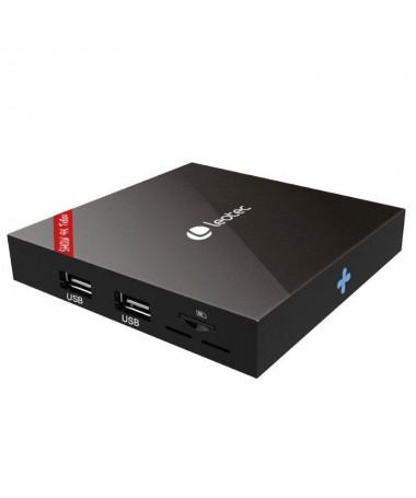 PSTRONGShow 4K TvBox STRONG Se puede colocar detras de la TV gracias a su soporte especialmente disenado y al puerto infrarrojo