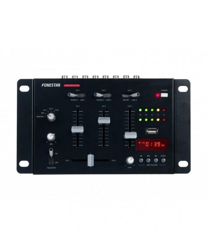 PMezclador DJ compacto de 3 canales estereo y 1 microfonoBRReproductor USB MP3BR PULLIH2FUNCIONES H2 LILIPreescucha CUE LILIInd
