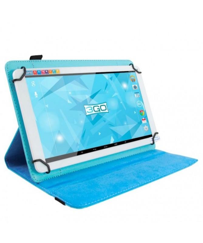 pColor CelestebrAcabado Exterior Simil piel Interior MicrofibrabrCompatibilidad Tablets de 7 brSoporte RotatoriobrCierre Elasti