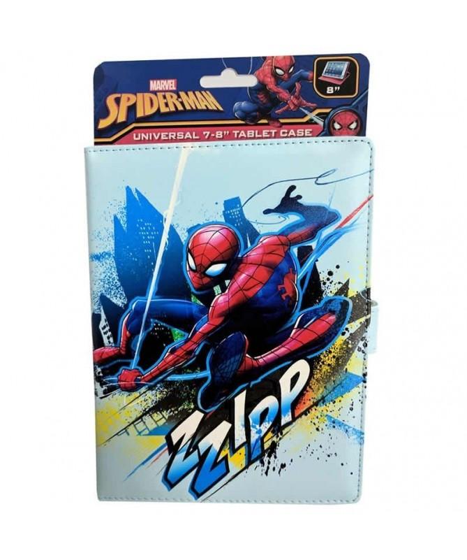 pul liFunda con exterior efecto de cuero con diseno de Spider Man li liMultiples posiciones para visualizacion de tabletas li l