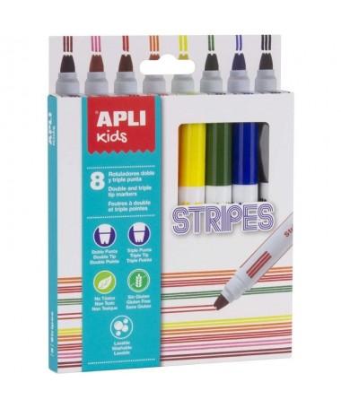 pul liPack de 8 rotuladores Stripes tamano Ø 144 x 137 mm en colores surtidos amarillo naranja rojo rosa verde azul marron y n