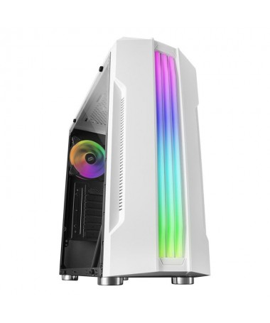 pCaja gaming avanzada co n triple franja LED RGB frontal y panel lateral de cristal templado Estructura ATX optimizada con espa