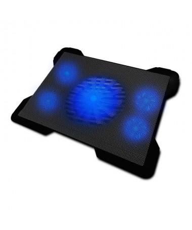 ph2Base refrigeradora para portatiles 5 ventiladores desconectables luz led azul y 2 puertos USB especialmente disenado para ga