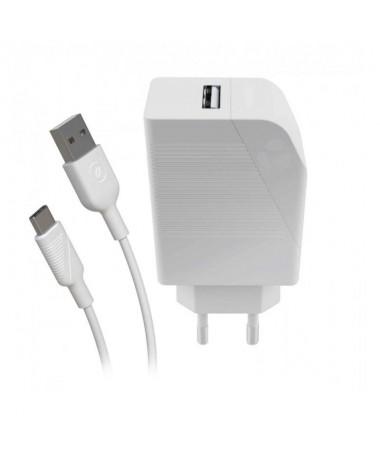 pPack muvit for Change que incluye un cargador con clavija europea 1 USB de 12W 24A color blanco y 100 reciclable y un cable pa