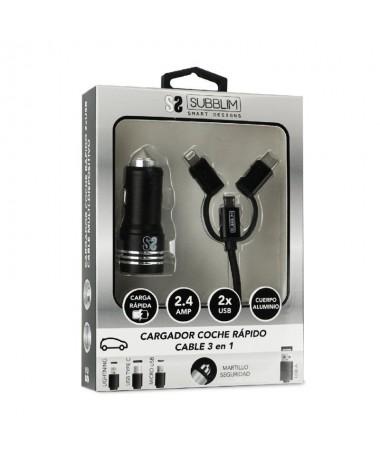 ph2Dual Car Charger Alum 24A Cable 3 in1 Negro h2divul li bCARGADOR COCHE b li liCargador para conectar en la toma del encended