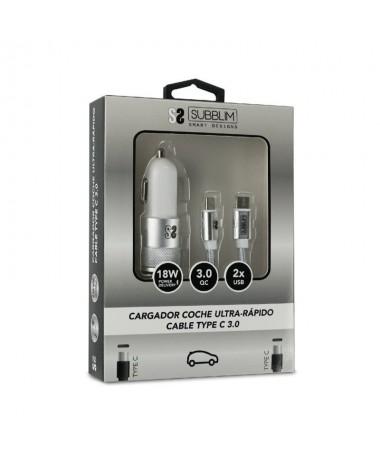 ph2Dual PD Car Charger PD18WQC30 C to C cable Plata h2ul libCARGADOR COCHE b li liCargador para conectar en la toma del encende