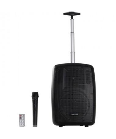 pAmplificador portatilbrMicrofono inalambrico de mano UHF  525 85 MHzbrBluetooth reproductor USB MicroSD MP3 y sintonizador dig