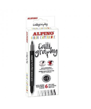 p6 rotuladores para caligrafia con doble punta en tonos grises y negro Por un lado la punta extrafina es idonea para escribir o