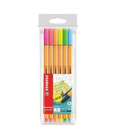 ul li6 colores neon li liPunta de fibra con refuerzo metalico li liApto para su uso con reglas y plantillas li liNo se seca si