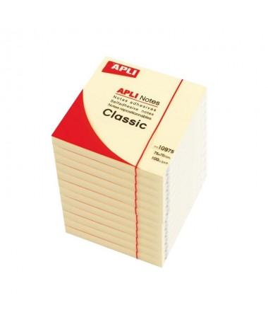 Notas adhesivas Bloc 100 h Amarillo 75 x 75