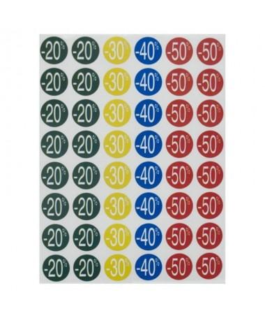 p Etiquetas ideales para resaltar los descuentos promocionales de los comercios Verde 80 u 20 Amarillo 40 u 30 Azul 80 u 40 Roj