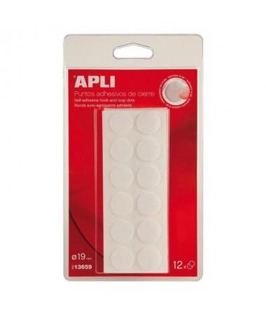 p12 puntos adhesivos gancho bucle blancos de Ø19 mm Puntos de cierre por filamentos tambien conocido en el mercado como cierre
