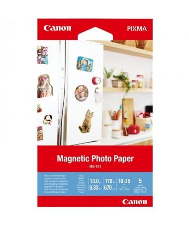 pul liPapel fotografico magnetico Canon MG 101  li liDimensiones 10 x 15 cm li li5 hojas li li670G M2 li ulbr p