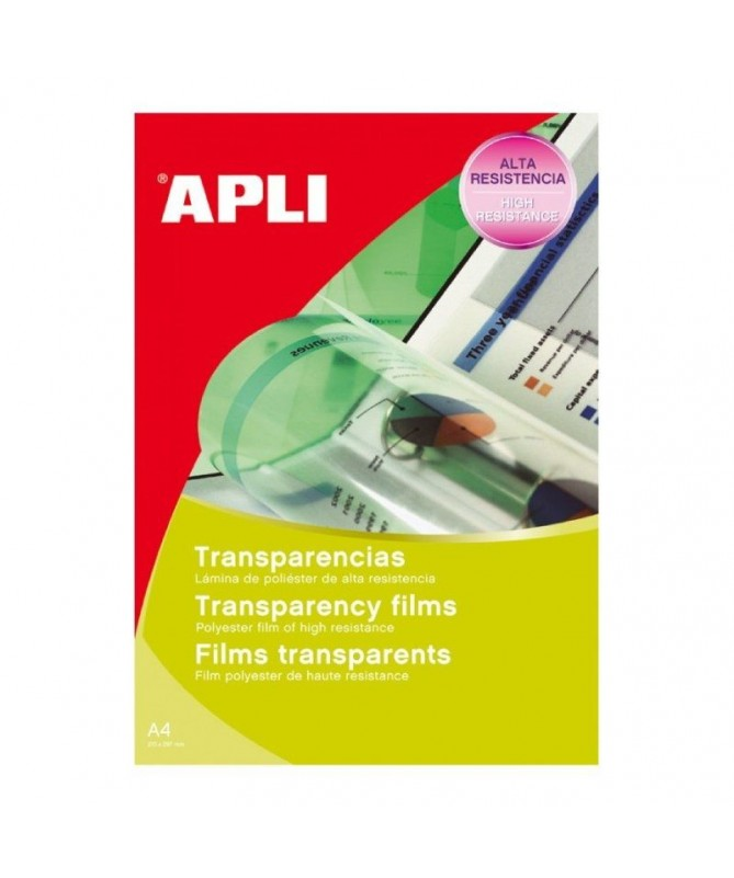 pul liTransparencias de poliester tamano A4 de grosor 100 µm aptas para impresoras laser Cada pack contiene 100 transparencias