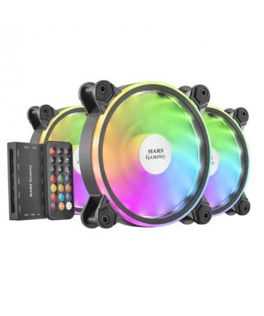pKit de 3 ventiladores ARGB MFX con el mas avanzado controlador ARGB con mando a distancia RF soporte de hasta 10 ventiladores