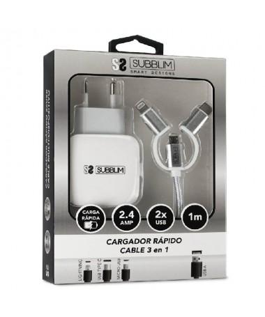 pdivbh2Cargador ABS Dual Wall Charger 24ACable 3in1 Blanco h2br b divul libCARGADOR b li liCargador para red domestica de carga