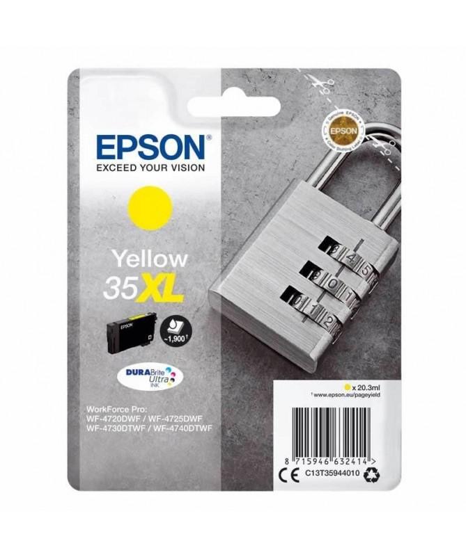 pul liCartucho de tinta Epson 35XL original candado de color amarillo con una capacidad de 203ml liliEste consumible es valido