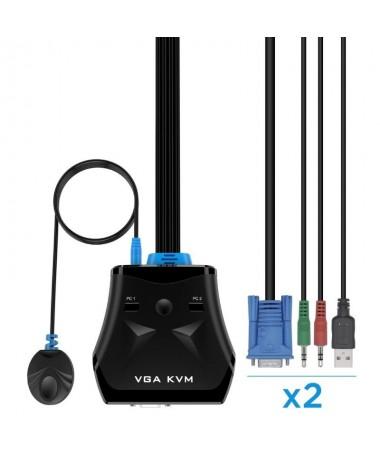 ph2Conmutador KVM VGA USB 1U 2PCcable Color negro Para controlar dos CPUs con solo una pantalla un teclado y raton h2ul linbspC