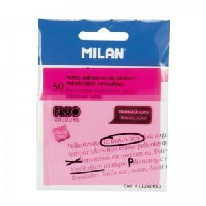 P50 notas adhesivas translucidas removibles rosa Fluo 76 x 76 mm ULLINotas adhesivas de plastico translucidas y removibles LILI