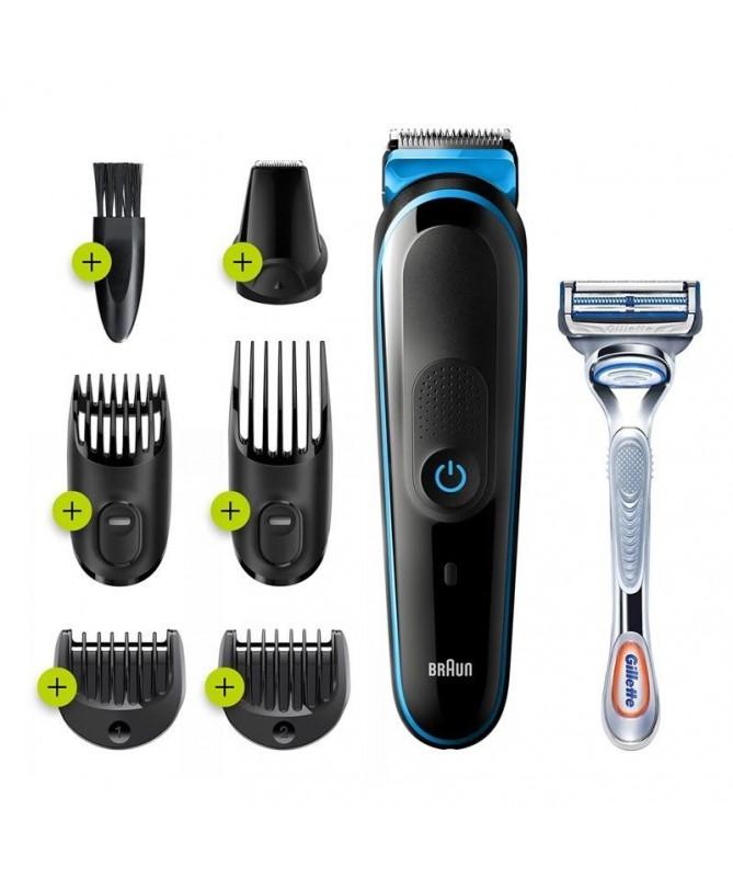 pSet de afeitado multifuncion MGK3242 de Braun set de depilacion corporal y facial 7 en 1brul liRecortadora todo en uno recarga