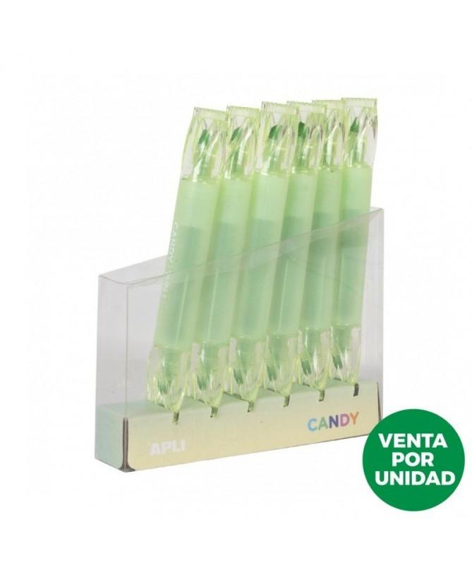 pul liSubarayador verde con forma de caramelo li liDe doble punta plana de 5mm y redonda de 2 mm li liIdeales para subrayar mar