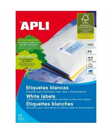 pbrh2Etiquetas blancas permanentes 2970 x 4200 mm A3 100 hojas h2Etiquetas blancas cantos rectos tamano 2970 x 4200 mm A3 con a