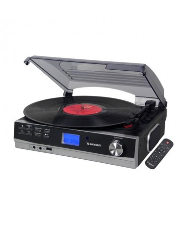 pGiradiscos con 3 velocidades conectividad Bluetooth Radio FM y conexiones USB y RCA entre otras El tocadiscos destaca por su f