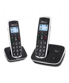p pEl SPCtelecom 7608 es un comodo telefono inalambrico con pantalla grande y teclas grandes que ses presenta en un elegante ac